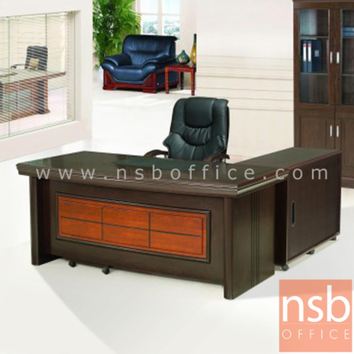 โต๊ะผู้บริหารตัวแอล  รุ่น Schneider (ชไนเดอร์) ขนาด 160W ,180W ,200W cm. พร้อมตู้ลิ้นชักและตู้ข้าง