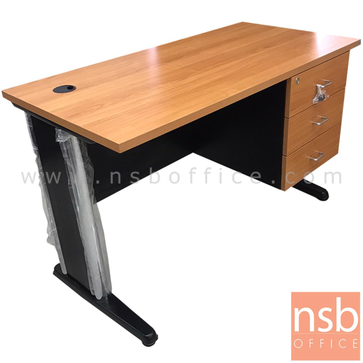 L10A204:โต๊ะทำงาน 3 ลิ้นชัก  ขนาด 120W*74H cm. ขาเหล็ก สีเชอร์รี่ดำ