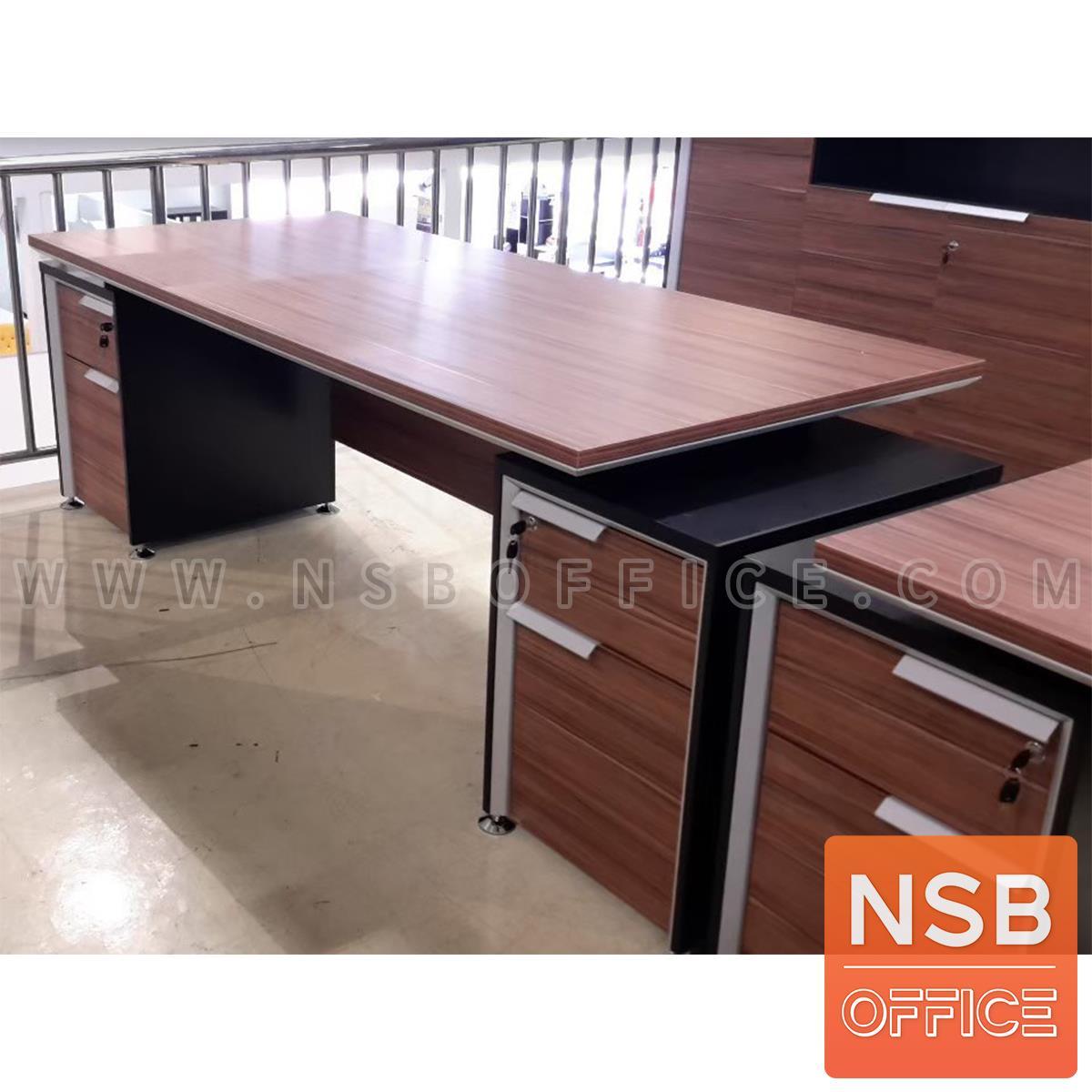 โต๊ะผู้บริหารทรงสี่เหลี่ยม 4 ลิ้นชัก  รุ่น Tinker (ทิงเกอร์) ขนาด 225W cm. ขาเหล็กอัลลอยชุบโครเมี่ยม สีวอลนัทตัดดำ