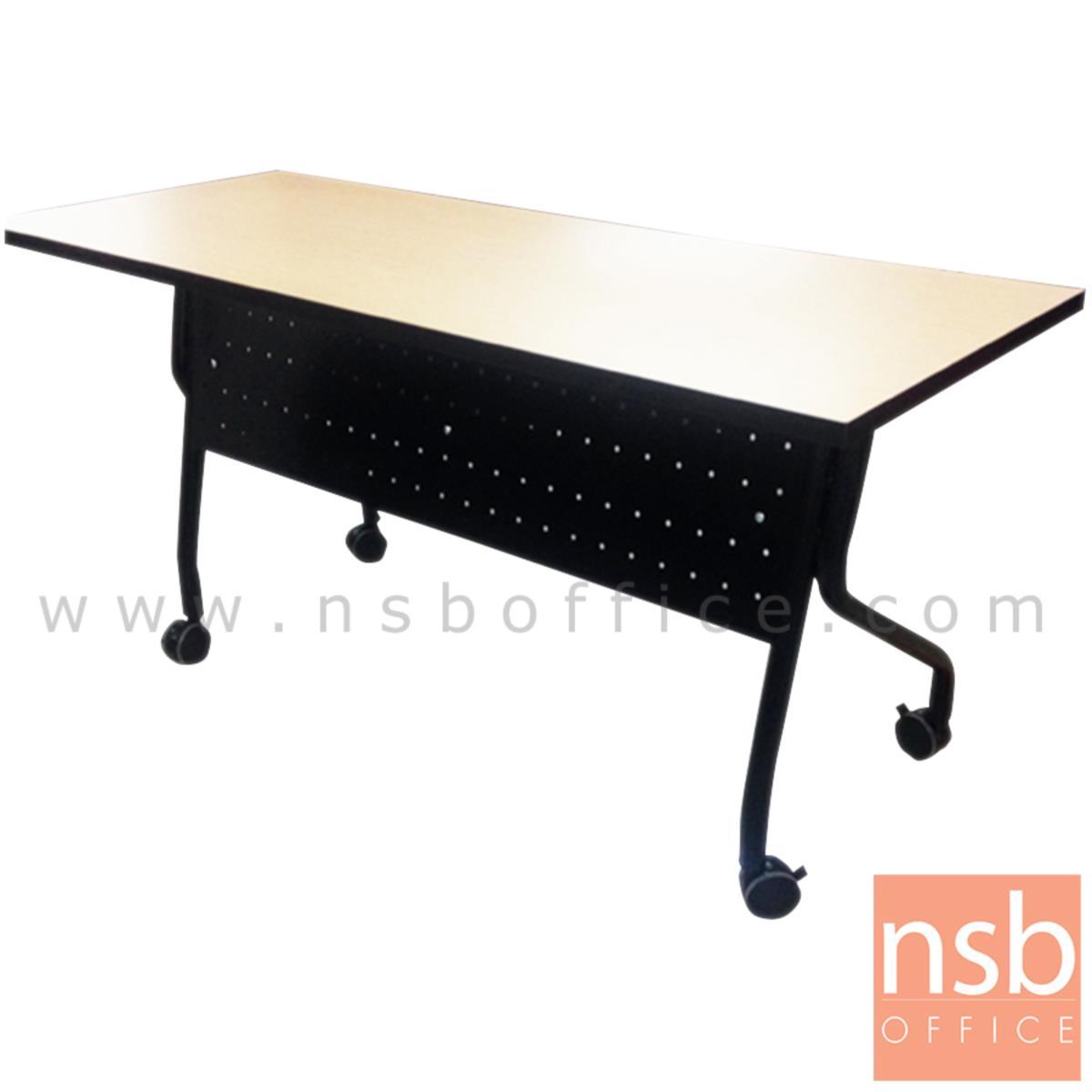 A05A077:โต๊ะประชุมพับเก็บได้ล้อเลื่อน รุ่น Ribbinston (ริบบินส์ตัน) ขนาด 120W ,150W ,180W cm.  โครงขาเหล็ก ลูกล้อใหญ่พิเศษ