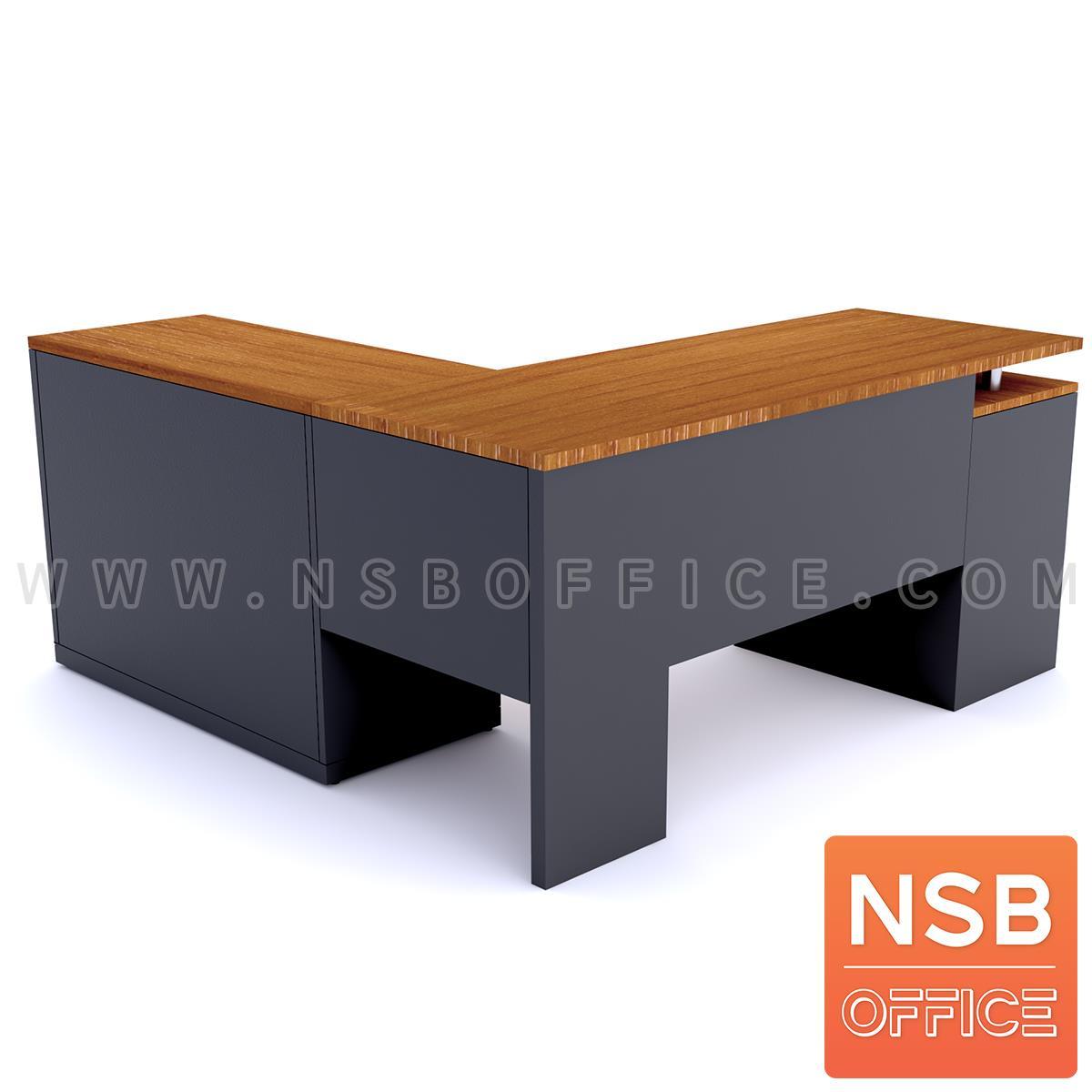 โต๊ะทำงานตัวแอล 3 ลิ้นชัก  รุ่น MO-OO ขนาด 160W cm. พร้อมตู้ข้าง