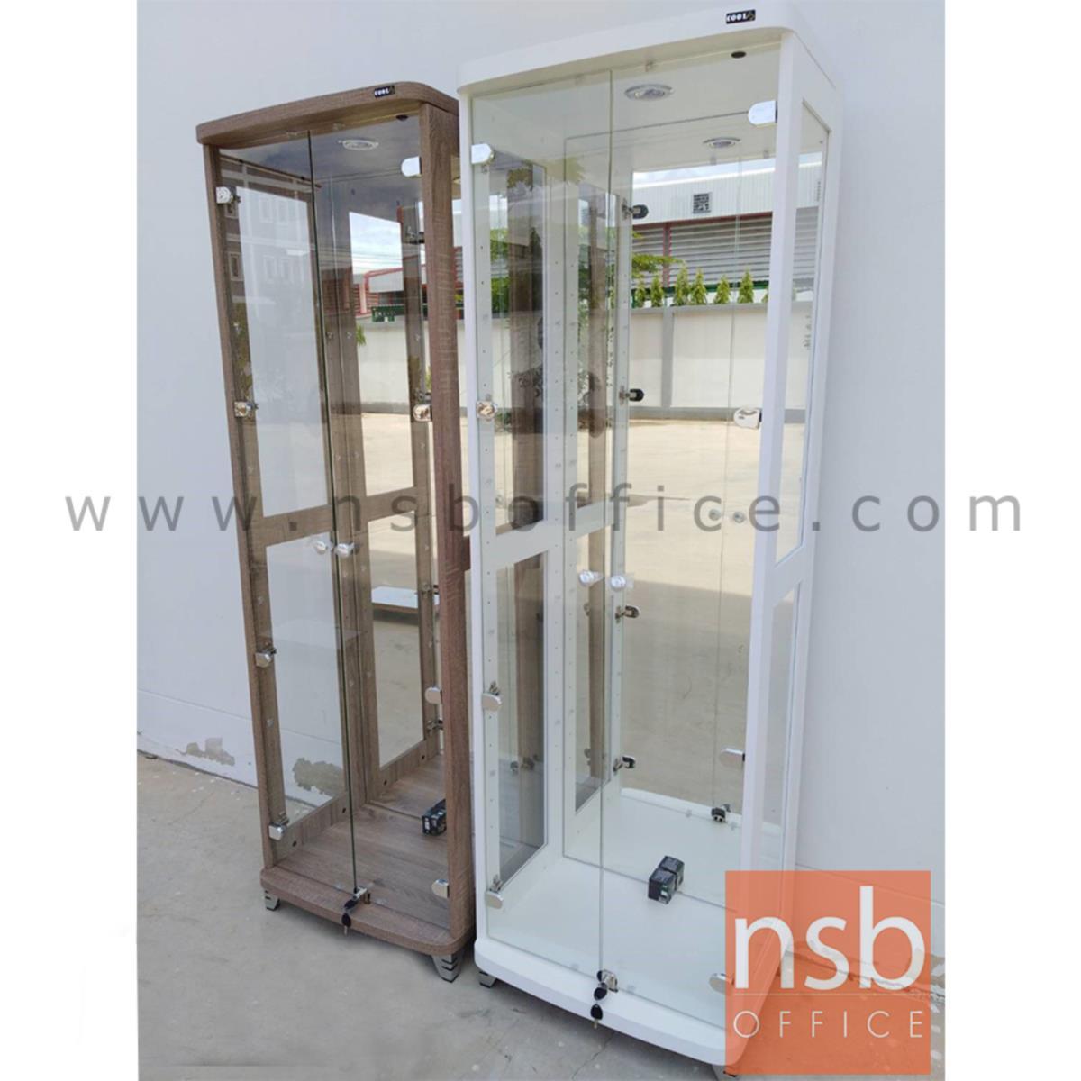 G06A071:ตู้โชว์กระจกดาวน์ไลท์ 2 บานเปิด รุ่น DW-602 ขนาด 60W*40D*190H cm. มีไฟในตัว (หลังกระจกเงา)