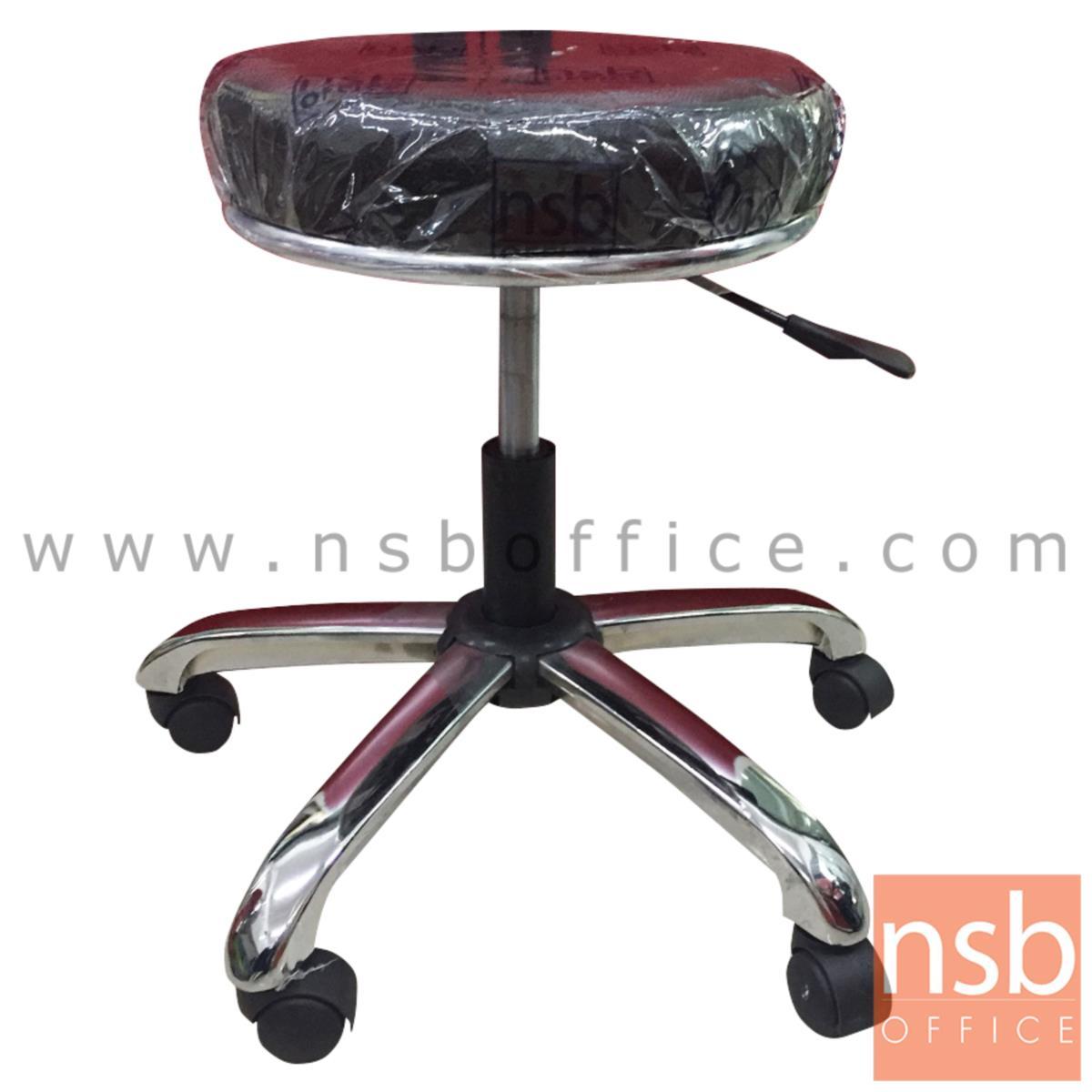 B09A196:เก้าอี้บาร์สตูลที่นั่งกลมล้อเลื่อน รุ่น SH-120  โช๊คแก๊ส ขาเหล็กเหลี่ยมชุบโครเมี่ยม