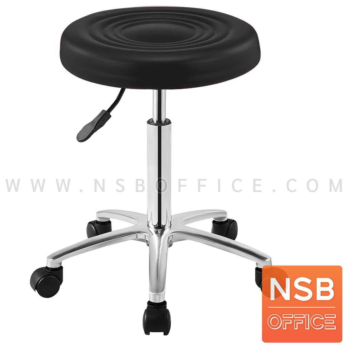 B09A182:เก้าอี้บาร์สตูลที่นั่งกลม สีดำ รุ่น Rivendell (ริเวนเดลล์)  ขาอลูมิเนียม 5 แฉก ล้อเลื่อน