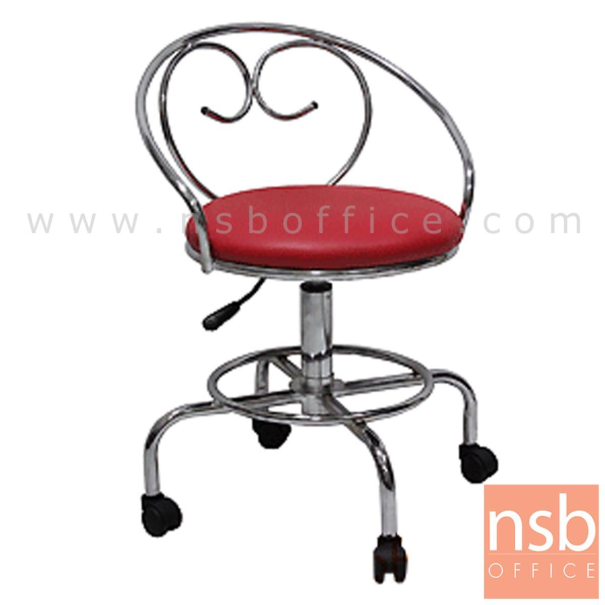 B09A106:เก้าอี้บาร์ที่นั่งกลมล้อเลื่อน รุ่น Odessa (โอเดซซ่า)  ขาเหล็กชุบโครเมี่ยม