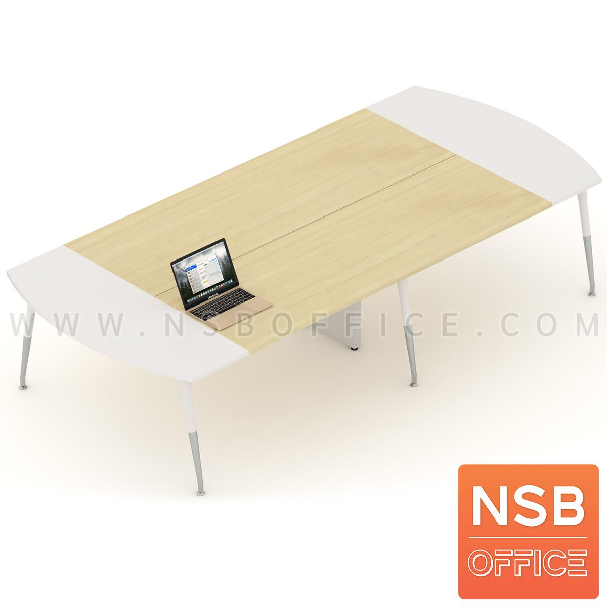 A05A168:โต๊ะประชุมหัวโค้ง ขาปลายเรียว ลึก 150 cm.  ขากลางมีกล่องนำสายไฟ