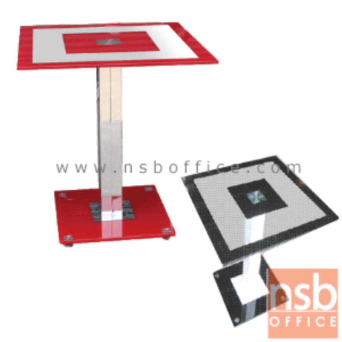 A05A103:โต๊ะเหลี่ยมหน้ากระจกจตุรัส รุ่น Monique (โมนิก) ขนาด 60W1*60W2 cm.  ขาฐานกระจก