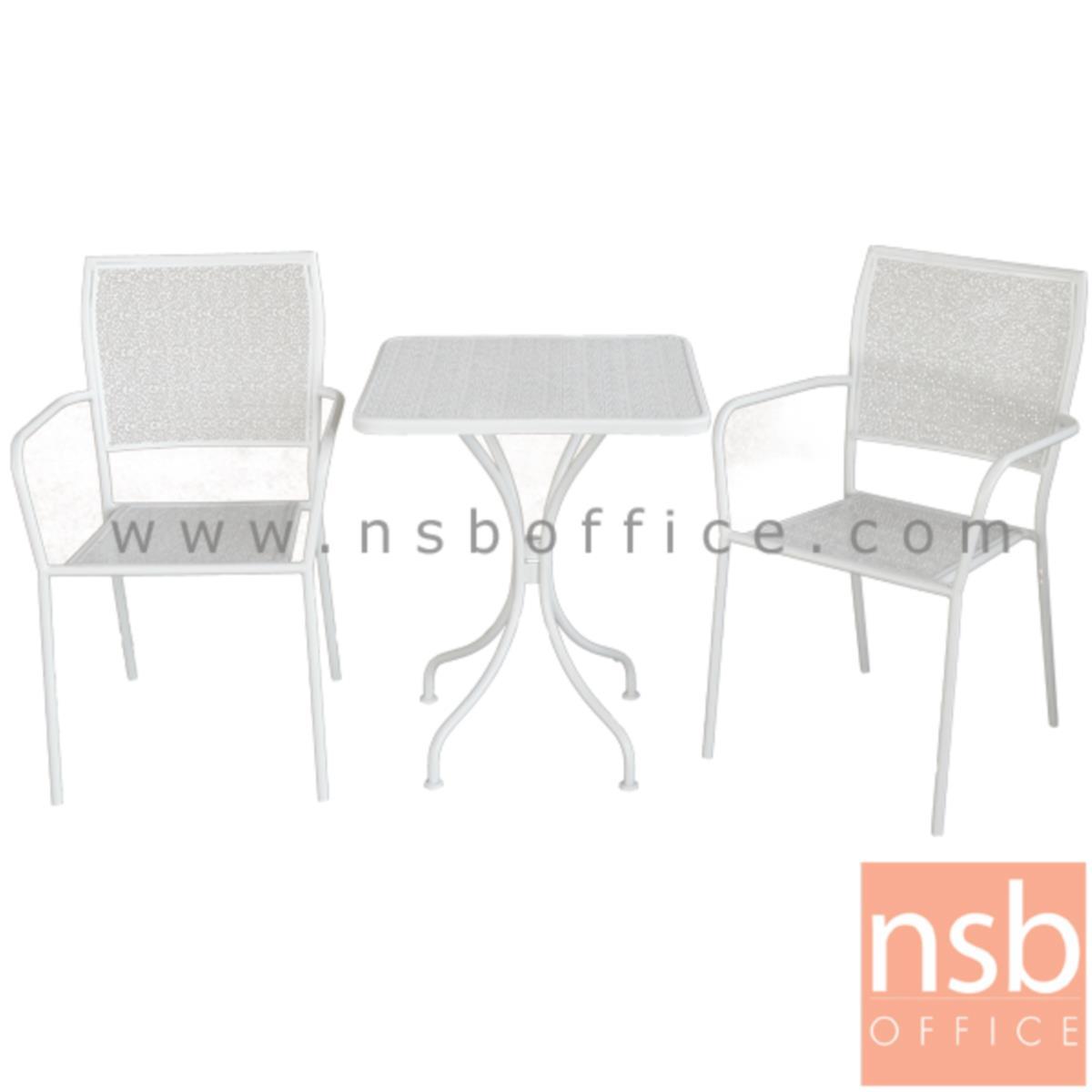 โต๊ะสนามโครงเหล็กหน้าท็อปเหลี่ยม 60W*60D*71H cm. รุ่น WISDOM-01 ขาเหล็กพ่นสี (ไม่รวมเก้าอี้)