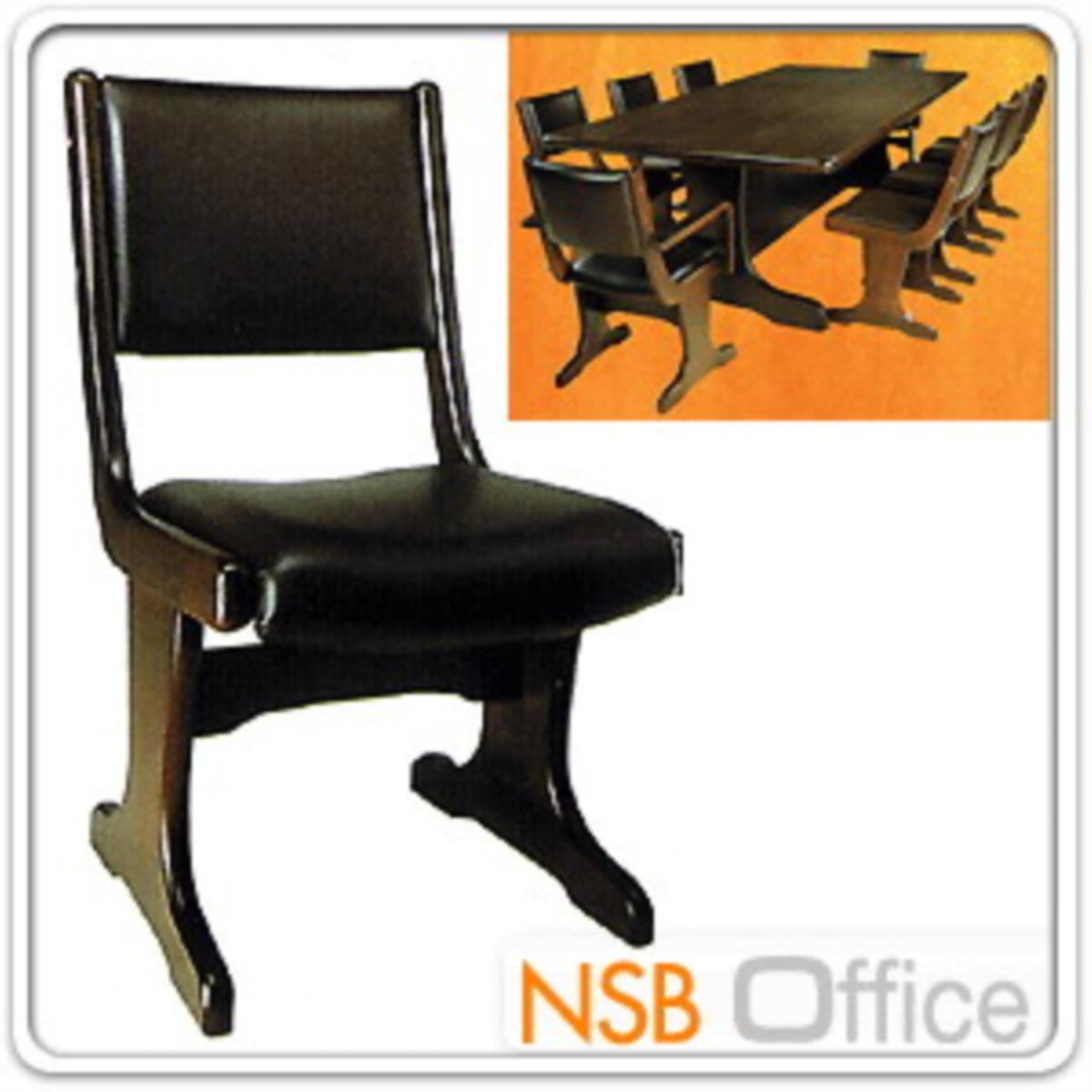 เก้าอี้ไม้ยางพาราที่นั่งหุ้มหนังเทียม  42W cm. ขาไม้ตัวที
