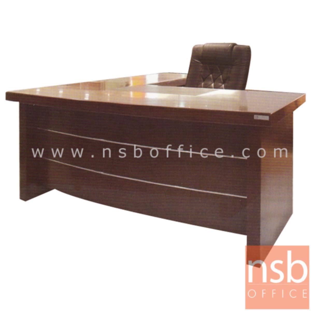 A06A056:โต๊ะผู้บริหารตัวแอล  รุ่น Hutcherson (ฮัทเชอร์สัน) ขนาด 160W cm. พร้อมตู้ข้างและตู้ลิ้นชัก