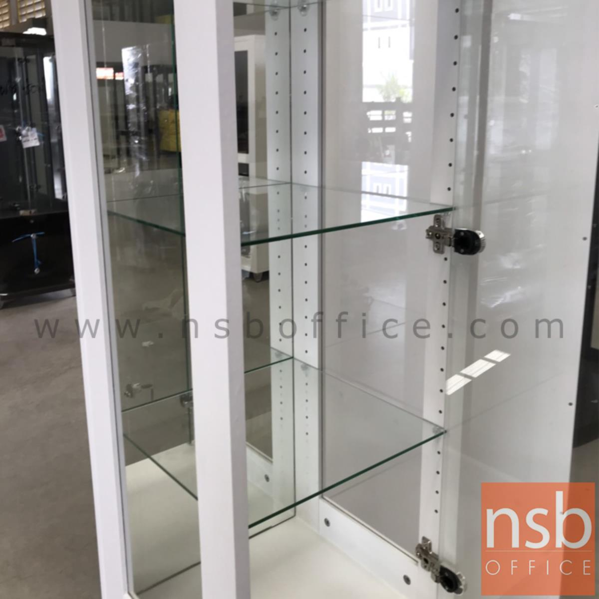 ตู้โชว์กระจกดาวน์ไลท์ 1 บานเปิด ขนาด 40W*40D*190H cm.  รุ่น DW-6848-DS มีไฟในตัว (หลังกระจกเงา)