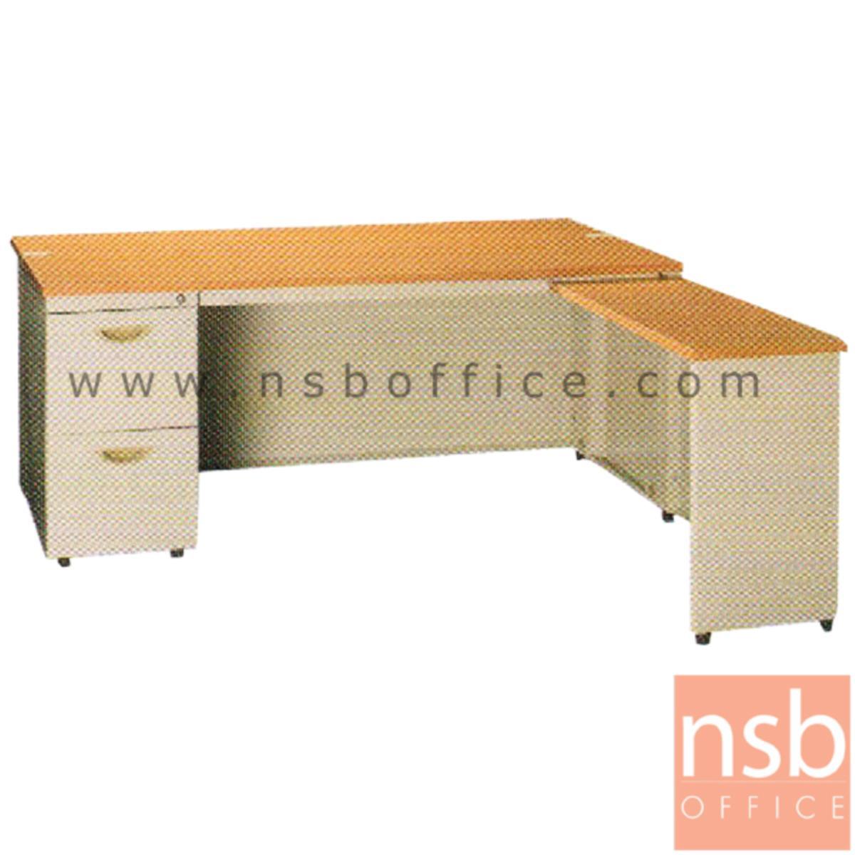 E28A119:โต๊ะทำงานเหล็กตัวแอล 3 ลิ้นชัก ยี่ห้อ ลักกี้  รุ่น DL2-75140,DL2-75160,DL2-75180