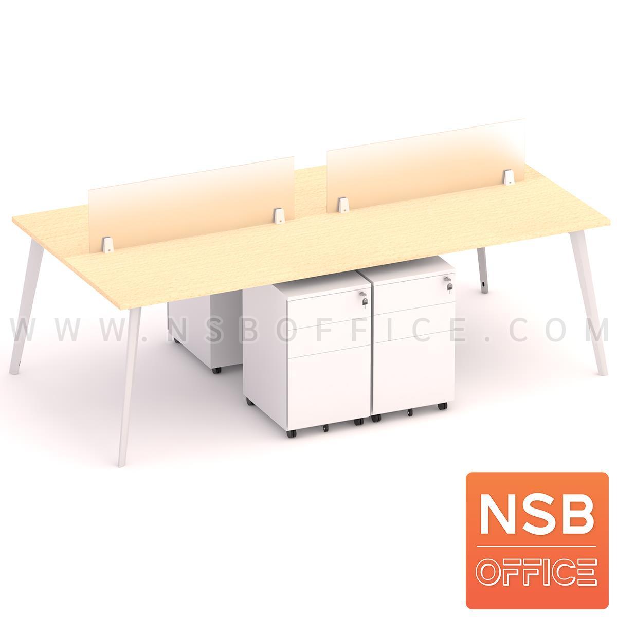 A31A006:ชุดโต๊ะทำงานกลุ่ม 4 ที่นั่ง  รุ่น Carbon (คาร์บอร์) ขนาด 240W*120D cm. พร้อมมินิสกรีนและตู้ลิ้นชักเหล็กล้อเลื่อน