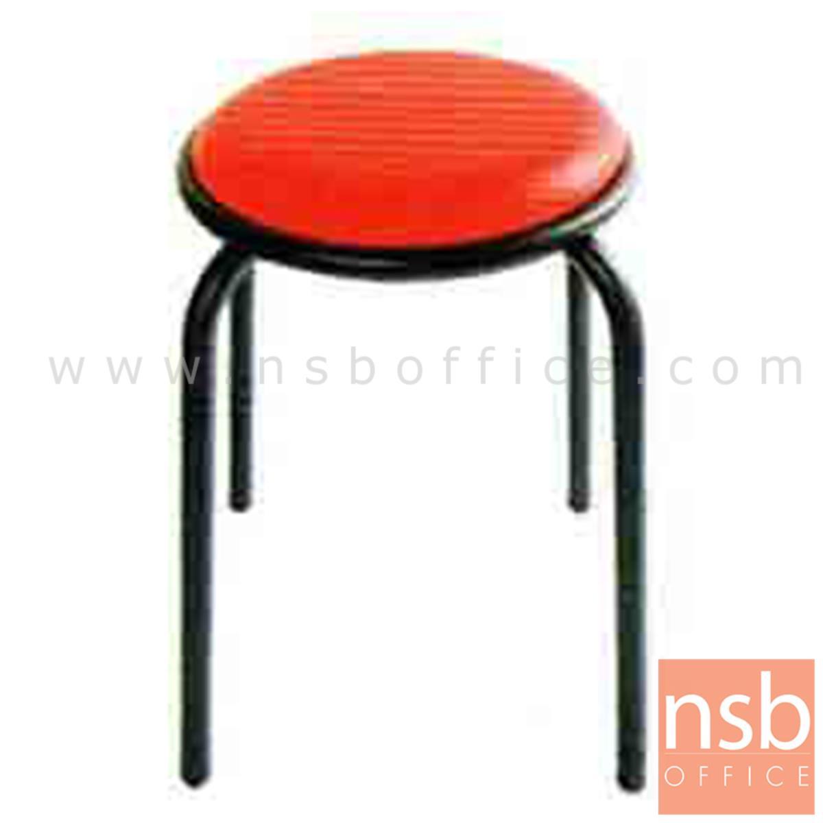 B09A014:เก้าอี้สตูลกลมที่นั่งหุ้มหนังเทียม รุ่นเหล็กหนาพิเศษ ขนาด 36Di*49H cm. ขาเหล็ก