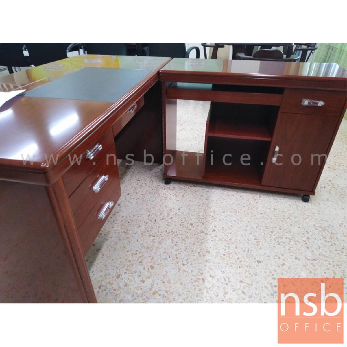 โต๊ะผู้บริหารตัวแอล 4 ลิ้นชัก  รุ่น Pleasant (พลีเซนต์) ขนาด 140W cm. พร้อมตู้ข้าง