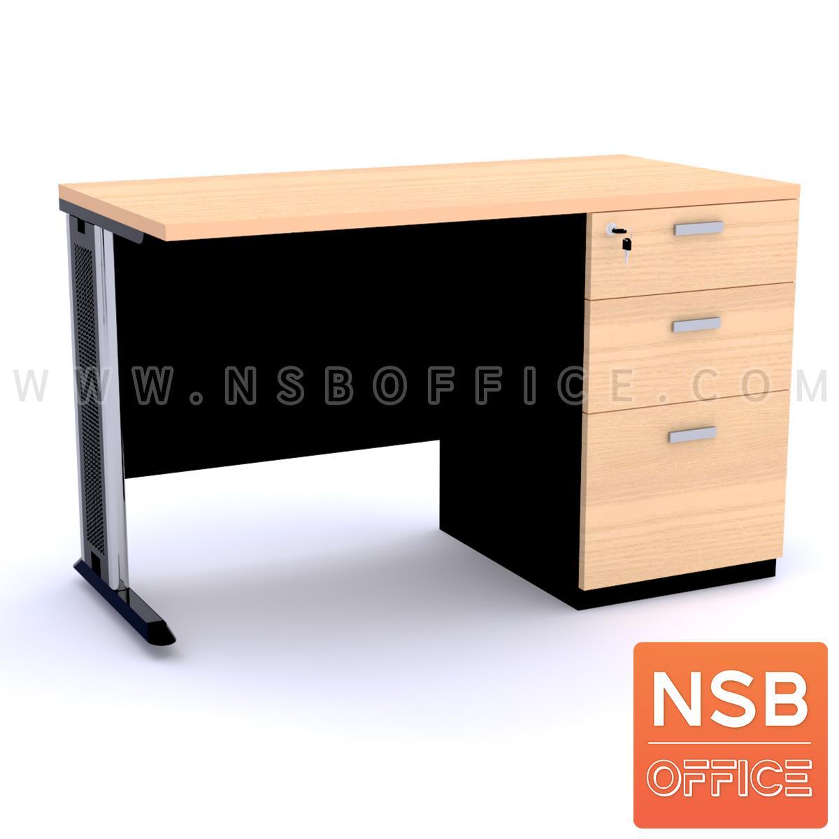 A18A036:โต๊ะทำงาน 3 ลิ้นชักข้างขาทึบ รุ่น Eterna (อีเทอร์นา) ขนาด 120W ,135W ,150W ,180W cm.  ขาเหล็กตัวแอล