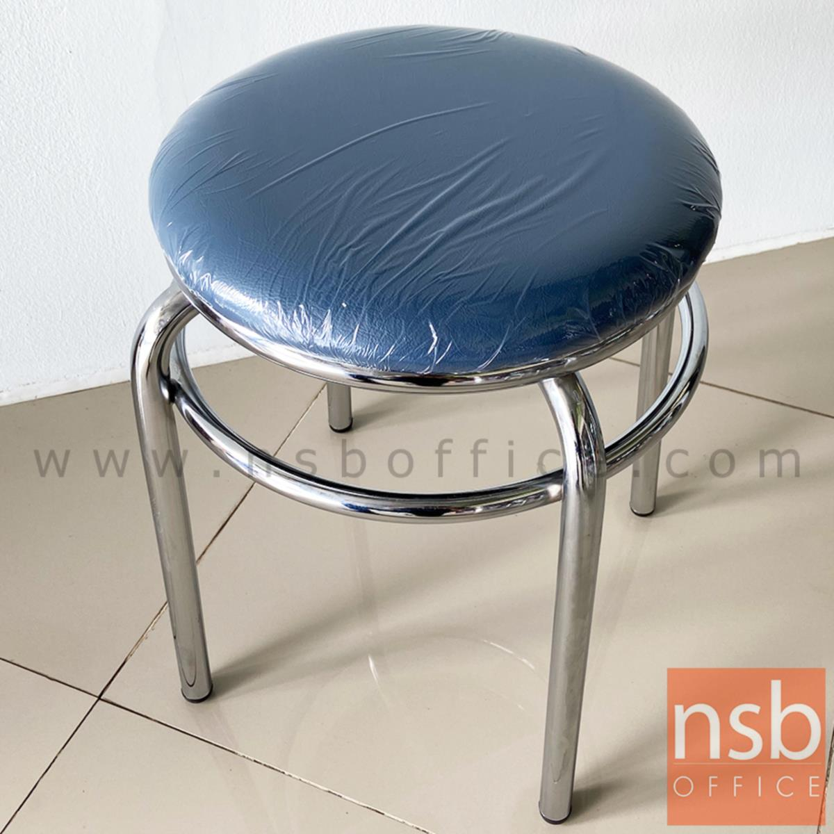 เก้าอี้สตูลกลมใหญ่ ที่นั่งเบาะหนังเทียม twin ring ขาเหล็ก