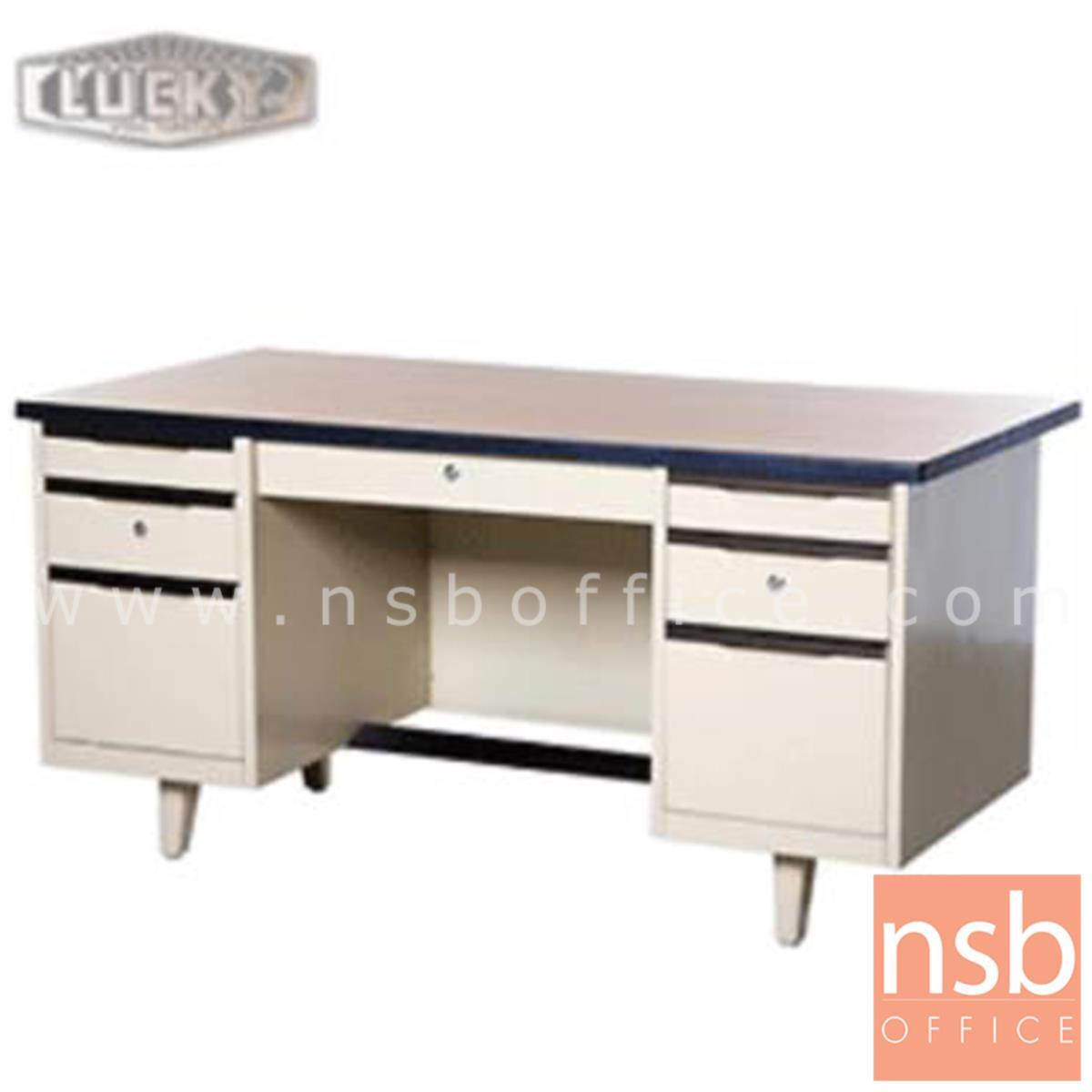 E28A026:โต๊ะทำงานเหล็ก 7 ลิ้นชัก ยี่ห้อลัคกี้  รุ่น NTC-2654,NTC-3060,NTC-3472 โฟเมก้าลายไม้