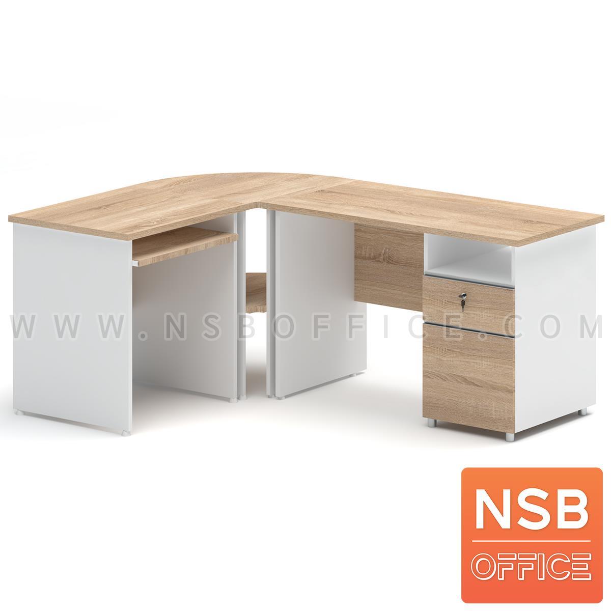 A21A018:โต๊ะทำงานตัวแอล 2 ลิ้นชัก รุ่น Spring Flower (สปริงฟลาวเวอร์) ขนาด 180W1*140W2 cm. พร้อมรางคีบอร์ด สีเนเจอร์ทีค-ขาว