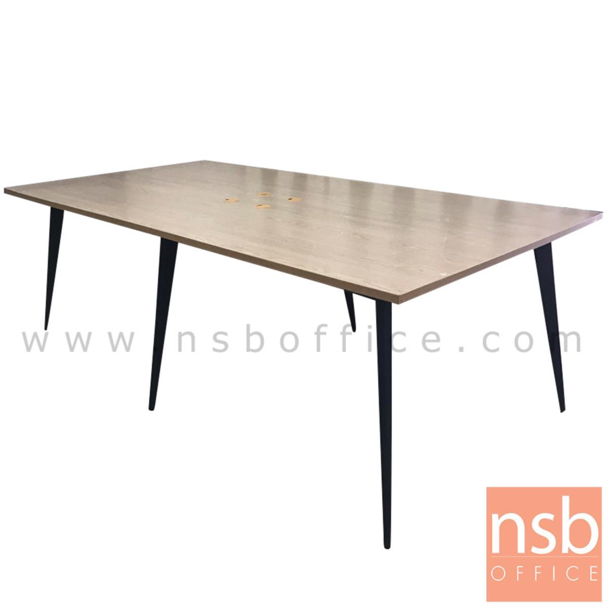 A05A196:โต๊ะประชุมทรงสี่เหลี่ยม รุ่น SKYLINE ขนาด 240W cm. ขาปลายเรียวหกเหลี่ยม สีเทาฟ้า