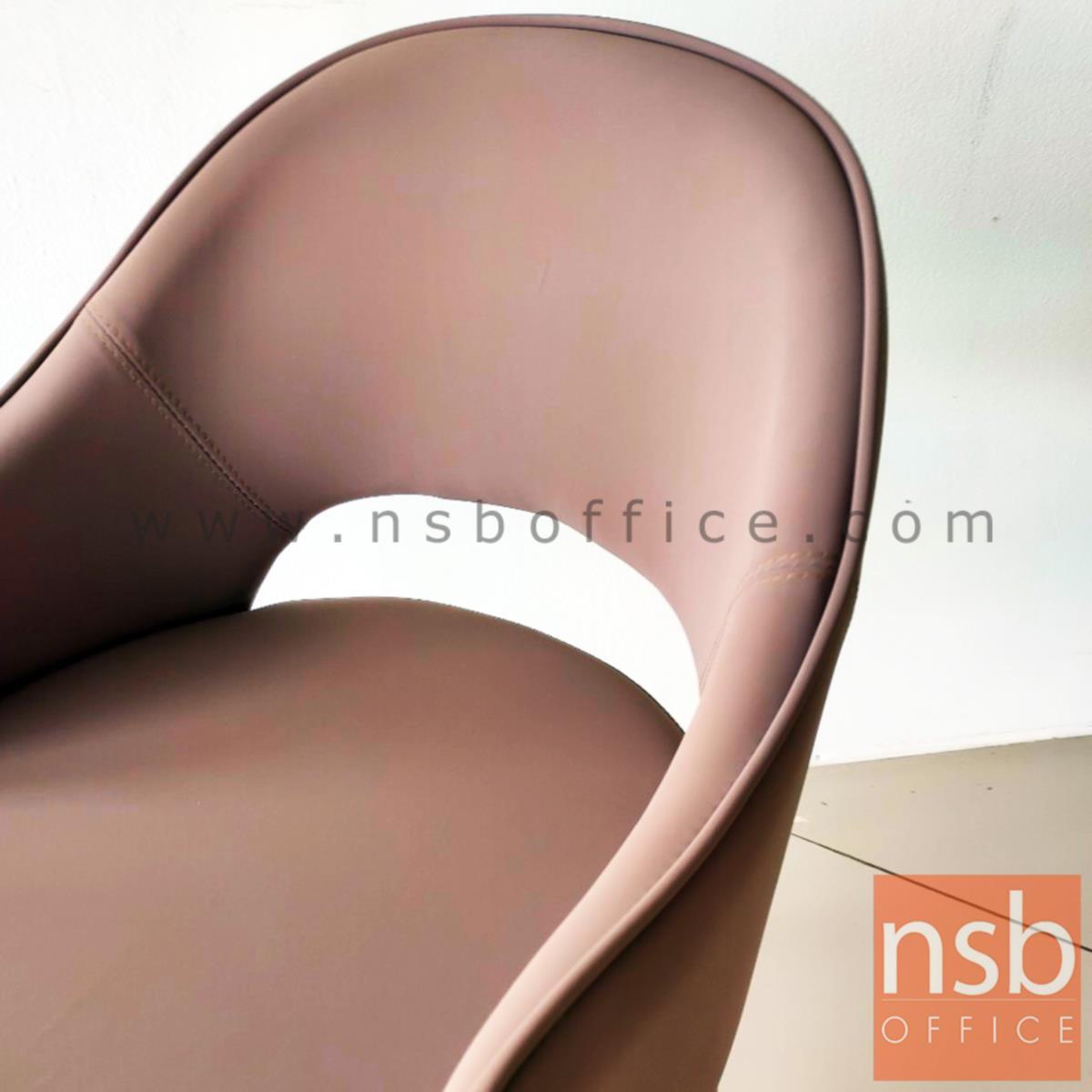 เก้าอี้โมเดิร์นหุ้มหนัง รุ่น Venice (เวนิส)  หลังโอบ ขาเหล็กปลายขาสีทอง