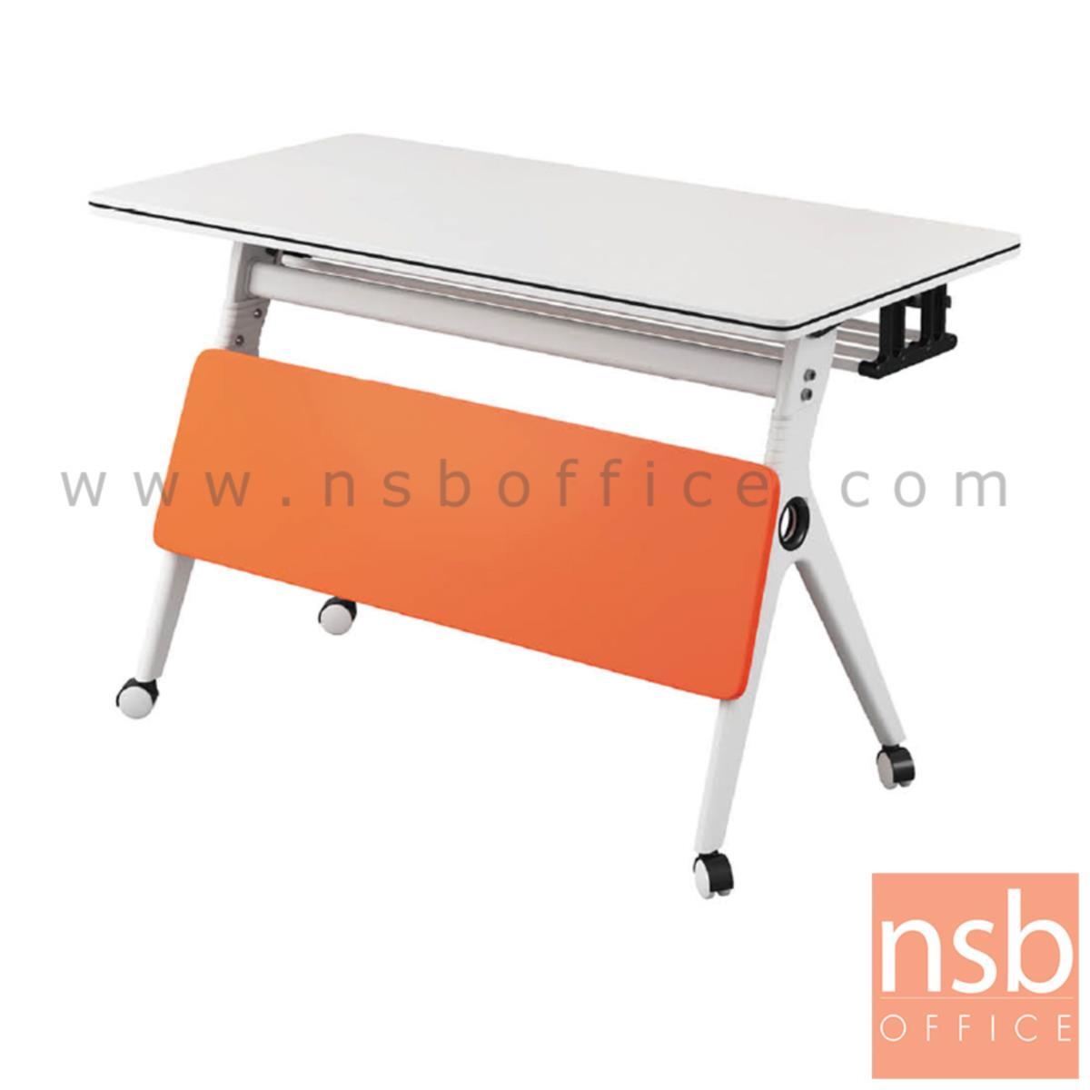 B30A055:โต๊ะล้อเลื่อน รุ่น herb (เฮิร์บ) ขนาด 120W*55D cm. มีบังตาและที่เก็บของใต้โต๊ะ