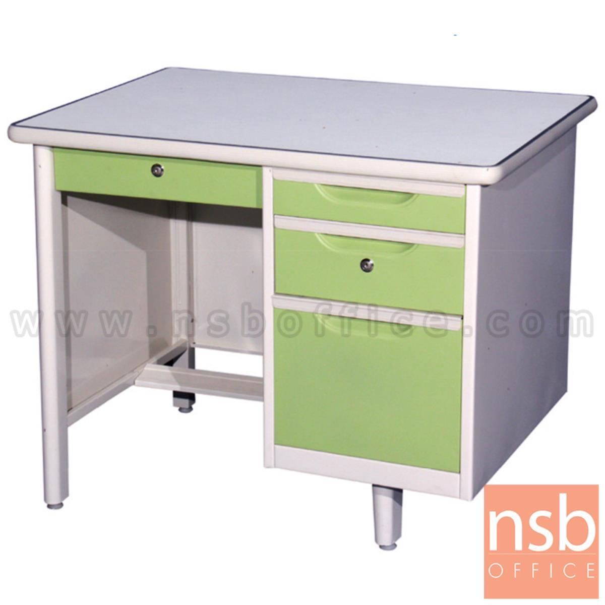 E06A007:โต๊ะทำงานเหล็กหน้าเหล็ก 4 ลิ้นชัก  รุ่น Murphy (เมอร์ฟี) ขนาด 3 ,3.5 ,4 ฟุต