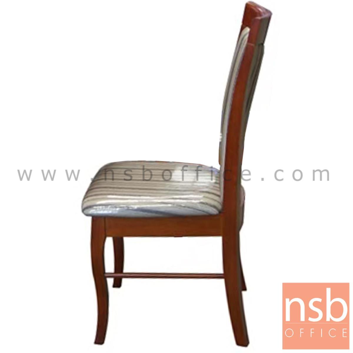 ก้าอี้ไม้ที่นั่งหนังเทียม รุ่น STABLE  ขาไม้ สีน้ำตาลแดง