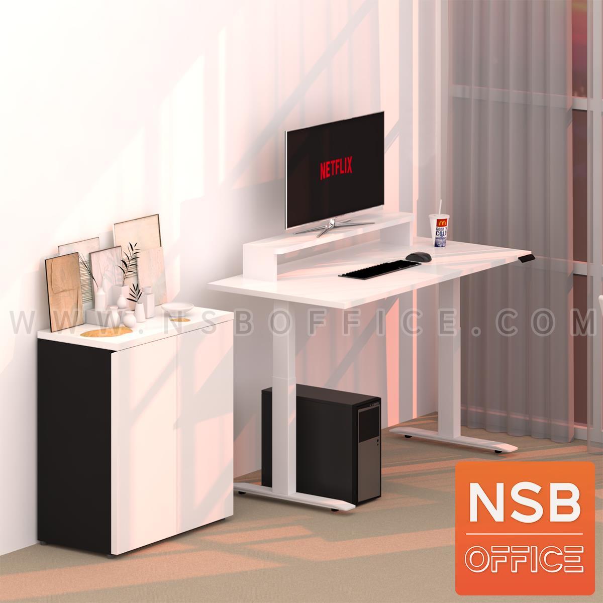 โต๊ะทำงาน Sit 2 Stand ระบบไฟฟ้า รุ่น Flaxen (แฟลกซ์เซ็น) ขนาด 150W, 180W cm. พร้อมชั้นวางจอคอมพิวเตอร์