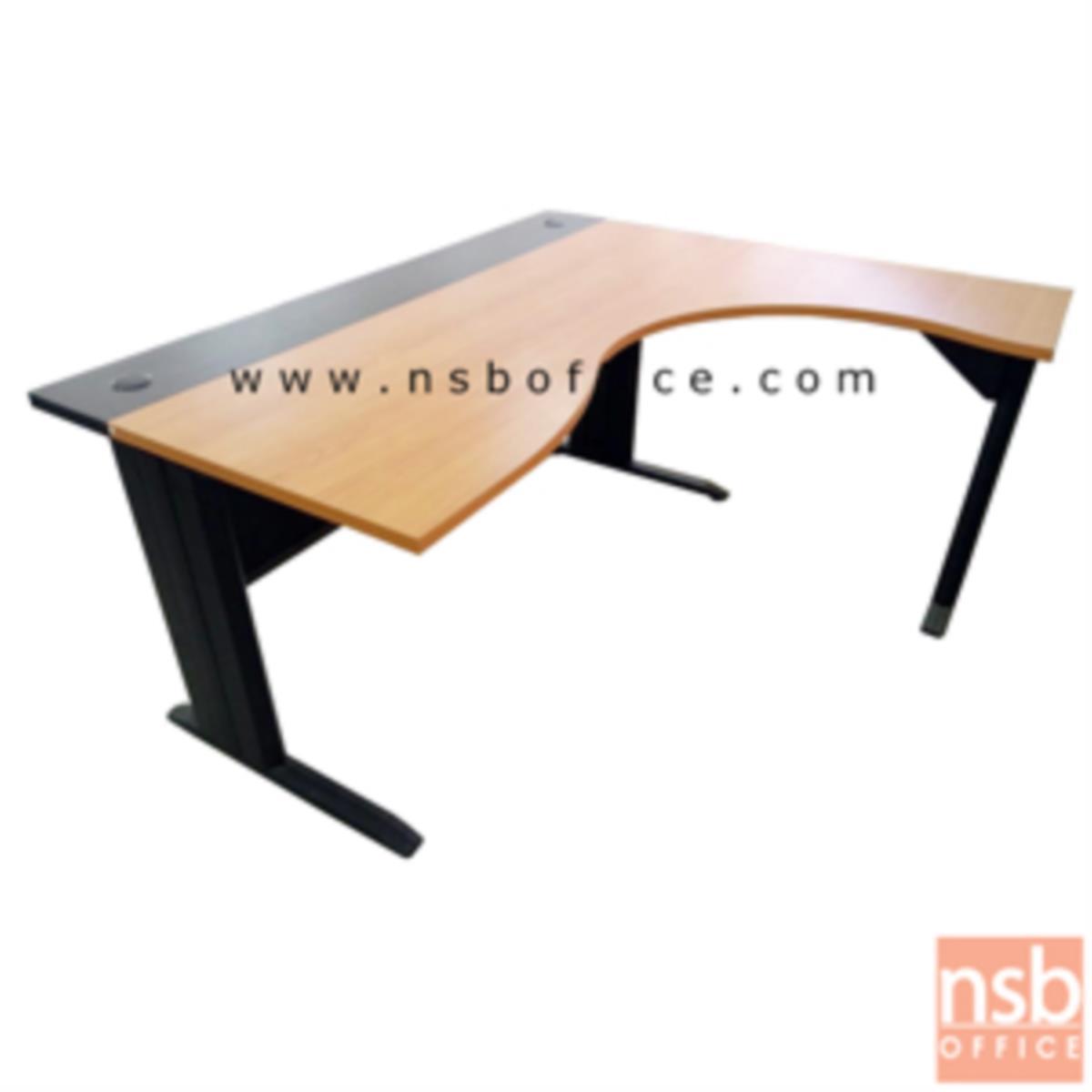 A10A008:โต๊ะทำงานตัวแอลหน้าโค้งเว้า  รุ่น Bekant (บีแคนท์) ขนาด 160W1*140W2 cm. ขาเหล็กดำ สีเชอร์รี่-ดำ