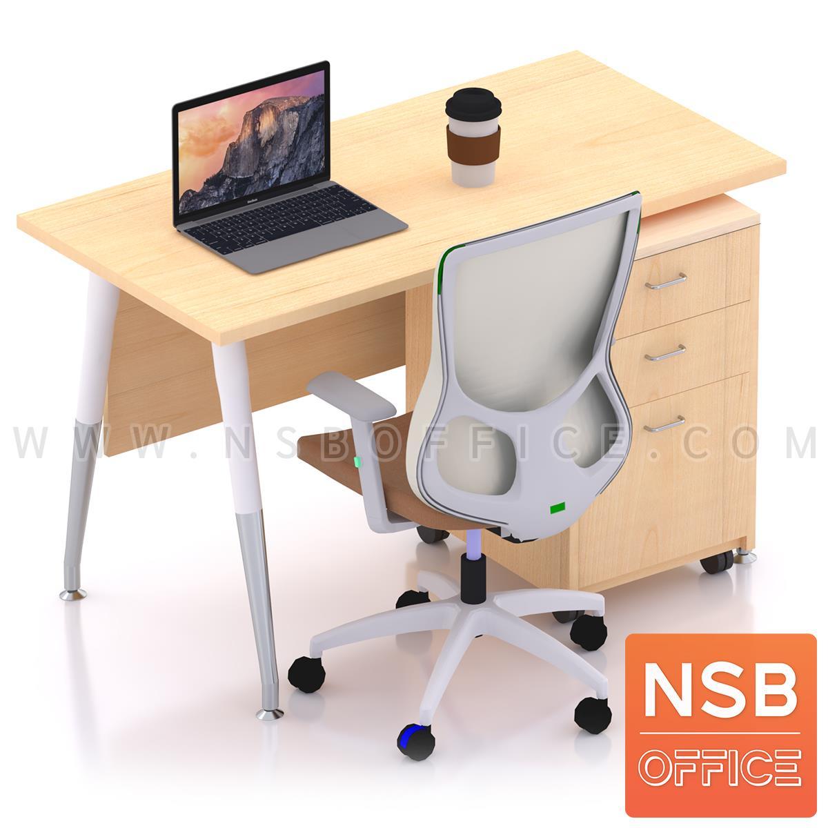 โต๊ะทำงานพร้อมลิ้นชักไม้ล้อเลื่อน รุ่น Plantnery 1 (แพลนเนอรี่ 1) ขนาด 120W cm. มีบังตา ขาเหล็ก