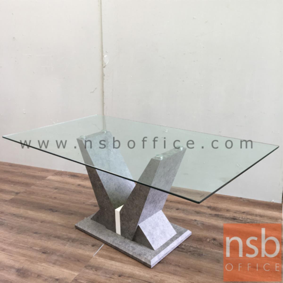 A09A125:โต๊ะประชุมเหลี่ยมหน้ากระจก รุ่น Sheeran (ชีแรน) ขนาด 180W cm.  ขากล่องไม้ MDF