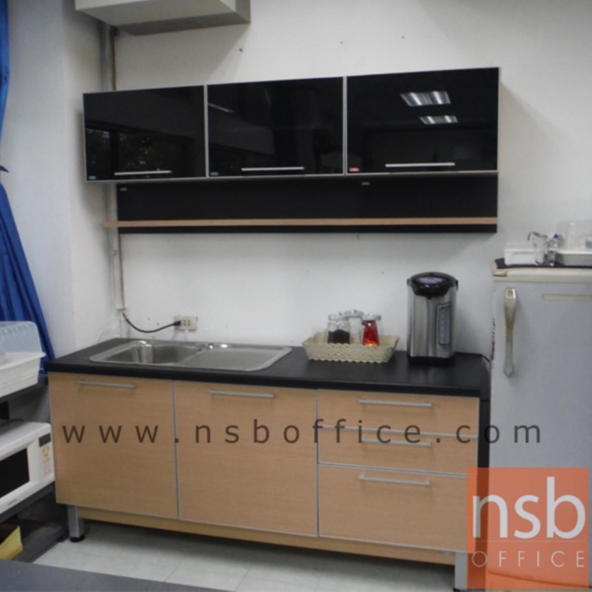 ชุดตู้ครัวสีบีทดำ 180W cm.  รุ่น STEP-12  (สำหรับครัวเปียกและครัวแห้ง)