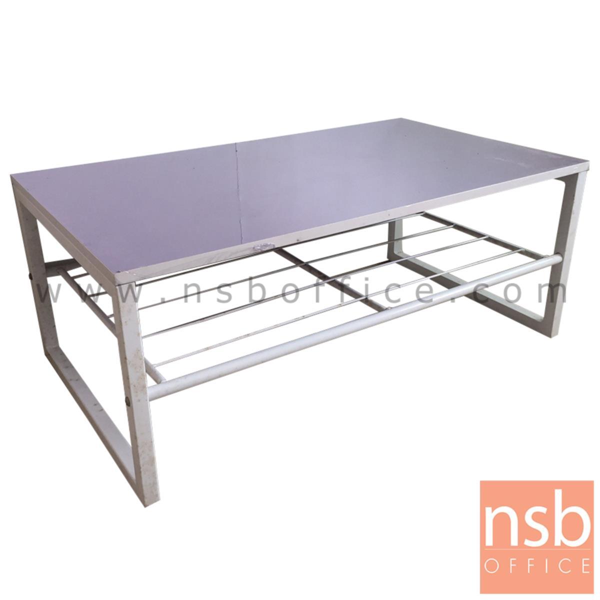 L10A017:โต๊ะกลางพีวีซี TOP ม่วงอ่อน  ขนาด 92W*37.5H cm.  ขาเหล็กพ่นสีขาว