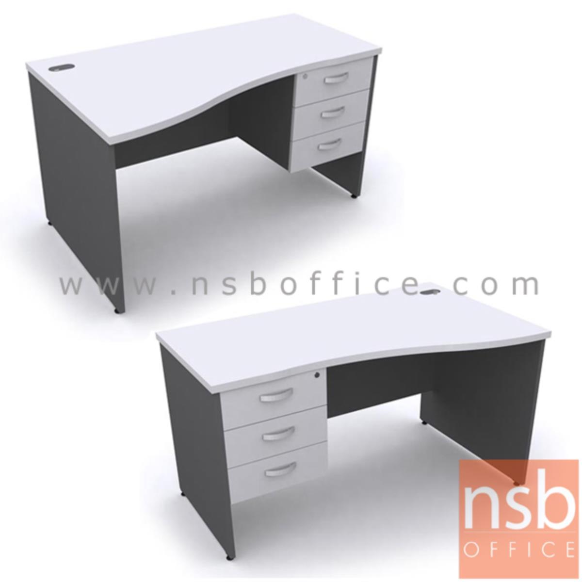 A12A039:โต๊ะทำงานหน้าโค้ง 3 ลิ้นชัก รุ่น Alan (แอลัน) ขนาด 120W ,135W ,150W ,165W ,180W cm. เมลามีน