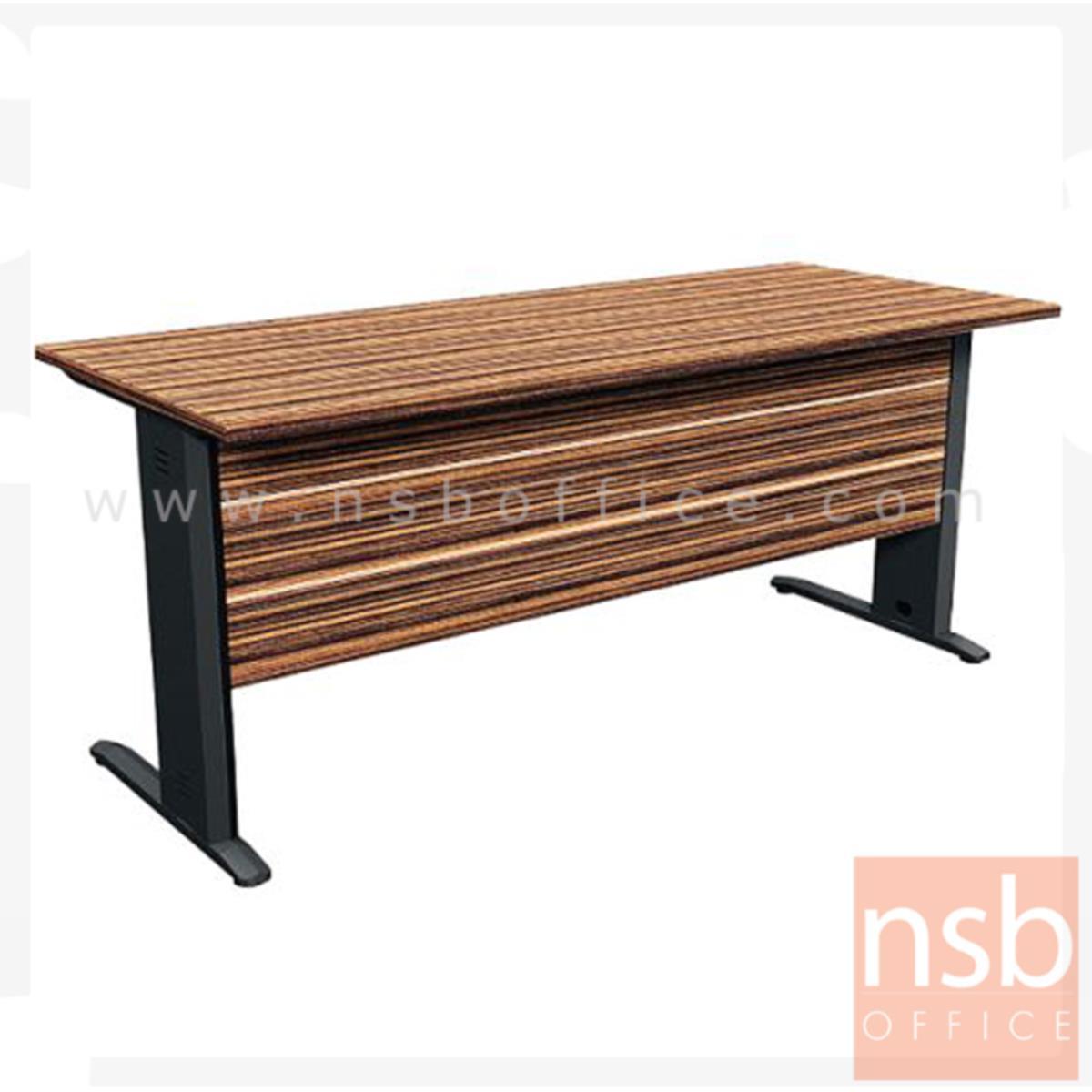 โต๊ะทำงาน รุ่น Petally (เพทอลลี่) ขนาด 160W ,180W cm.  ขาเหล็ก สีลายไม้ซีบราโน่ตัดดำ ขอบ ROSEGOLD