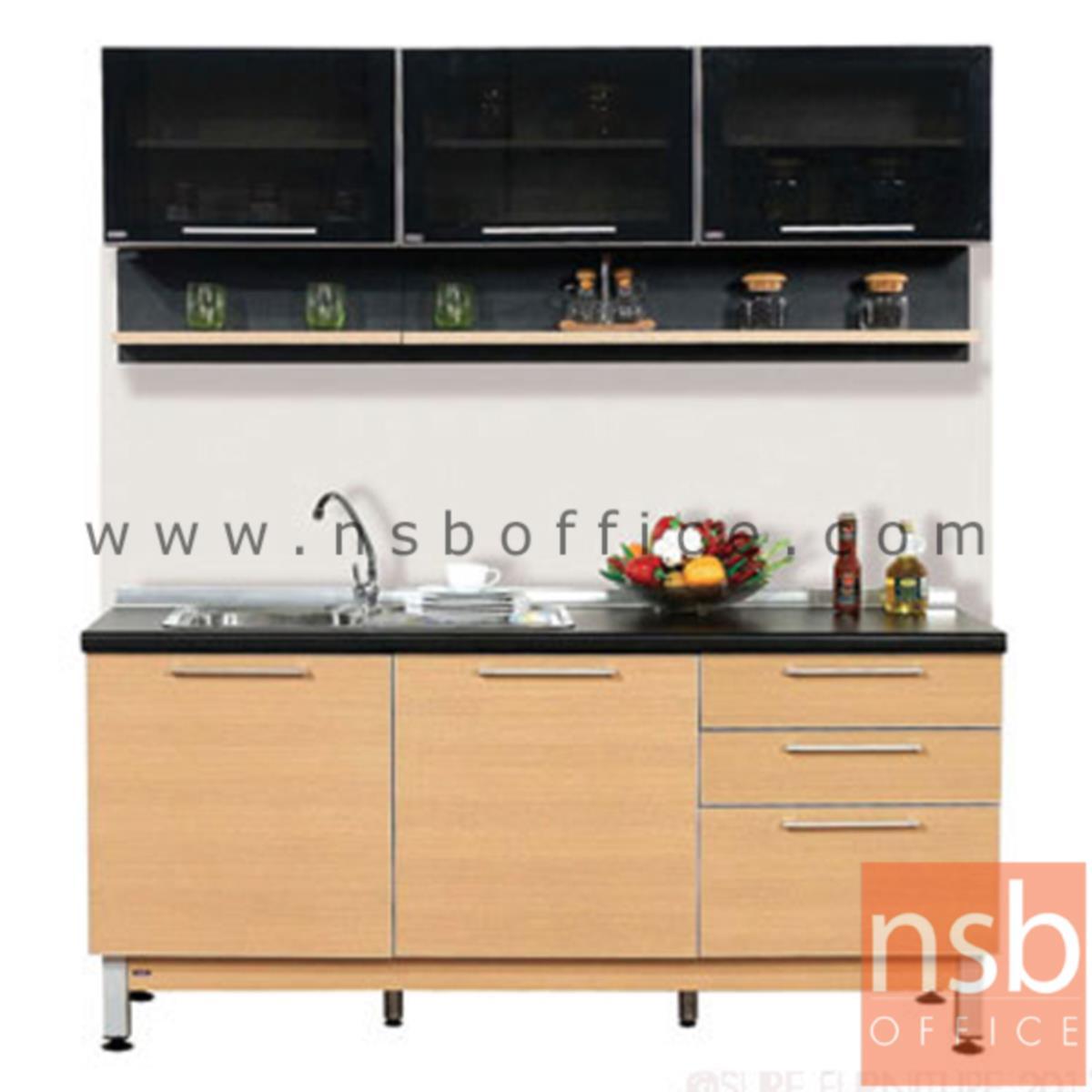 K02A011:ชุดตู้ครัวสีบีทดำ 180W cm.  รุ่น STEP-12  (สำหรับครัวเปียกและครัวแห้ง)