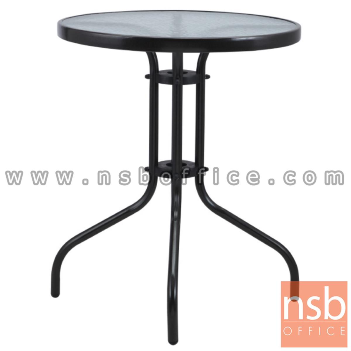 A09A058:โต๊ะสนามหน้ากลมกระจกฝ้า รุ่น Hourglass (อาวร์กลาส) ขนาด 60W* 60D* 70H cm. โครงเหล็กพ่นดำ