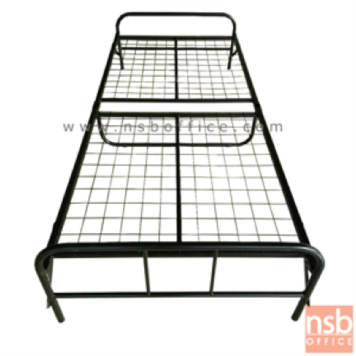 เตียงเหล็กพับได้ พื้นตะแกรง  ขนาด 90W*200D* 29H cm