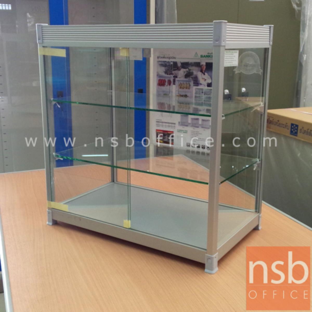 G06A042:ตู้โชว์กระจกขนาดเล็ก วางบนโต๊ะ โครงอลูมิเนียม