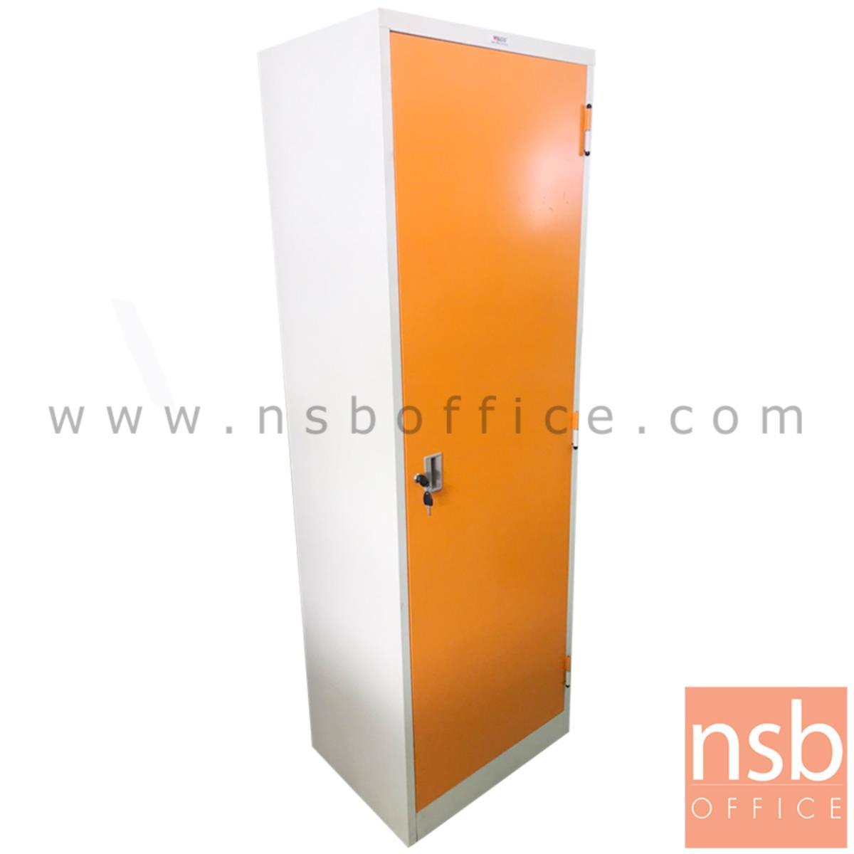 L10A212:ตู้เหล็กแม่บ้าน 1 บานเปิด  ขนาด 60W*184H cm. สีขาว-ส้ม
