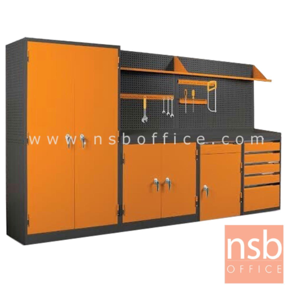E09A024:ชุดตู้เก็บเครื่องมือช่าง 307W*49.7D*183H cm. พร้อมแผ่นท็อปแผ่นชั้นและอุปกรณ์เสริม