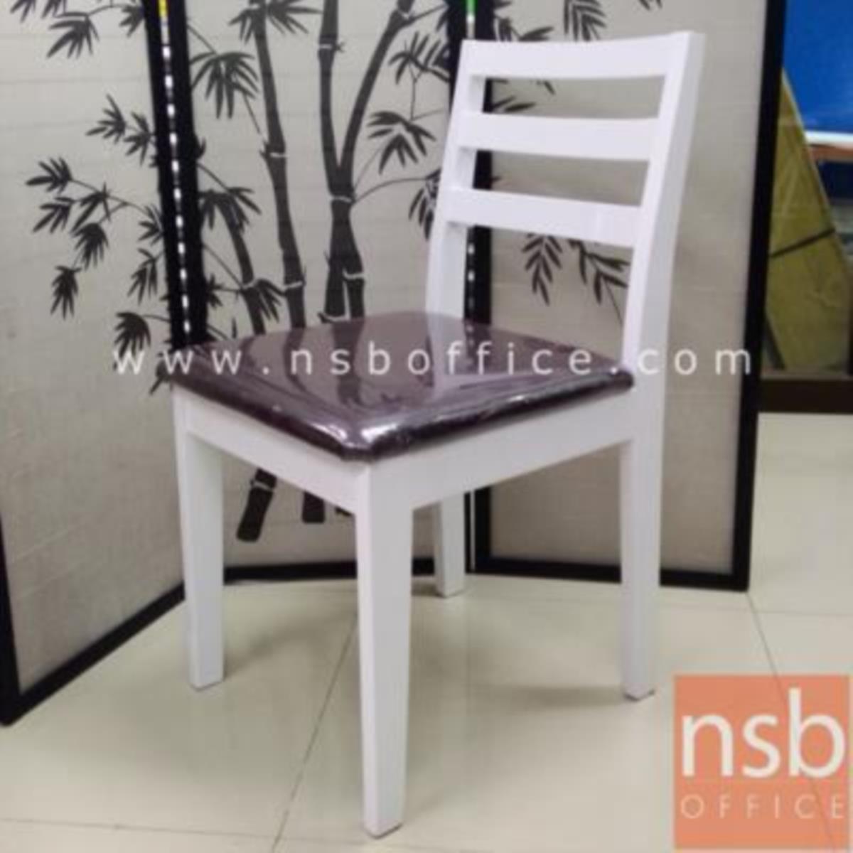 G14A123:เก้าอี้ไม้ยางพาราที่นั่งหุ้มหนังเทียม รุ่น S1 ขาไม้