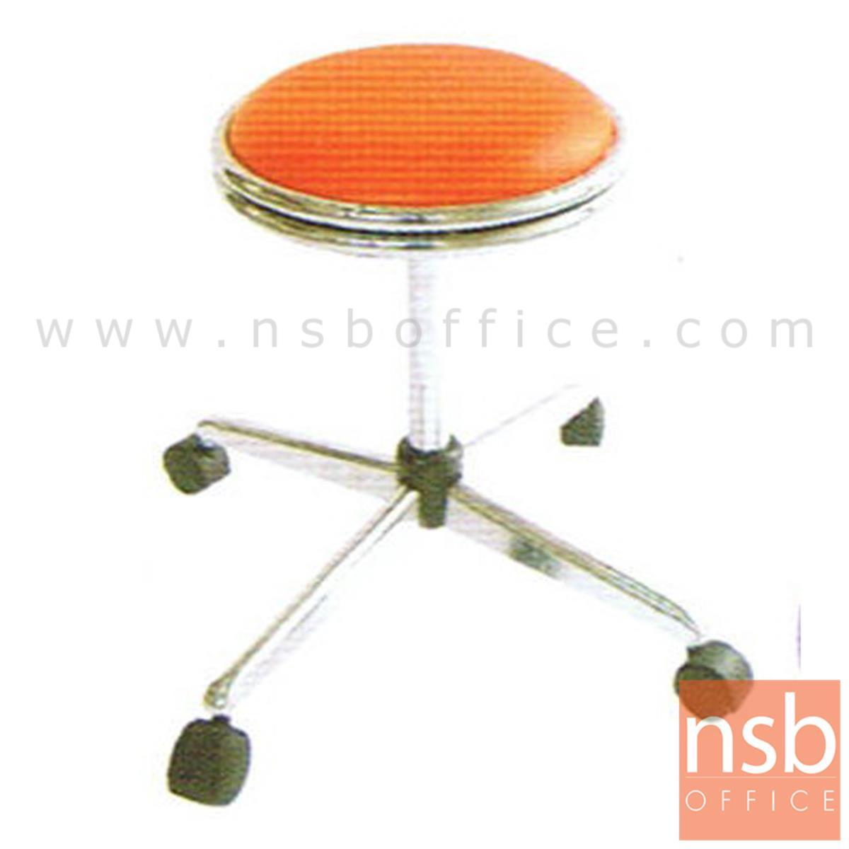 B09A006:เก้าอี้บาร์สตูลที่นั่งกลมล้อเลื่อน รุ่น CS-022 ขาเหล็ก
