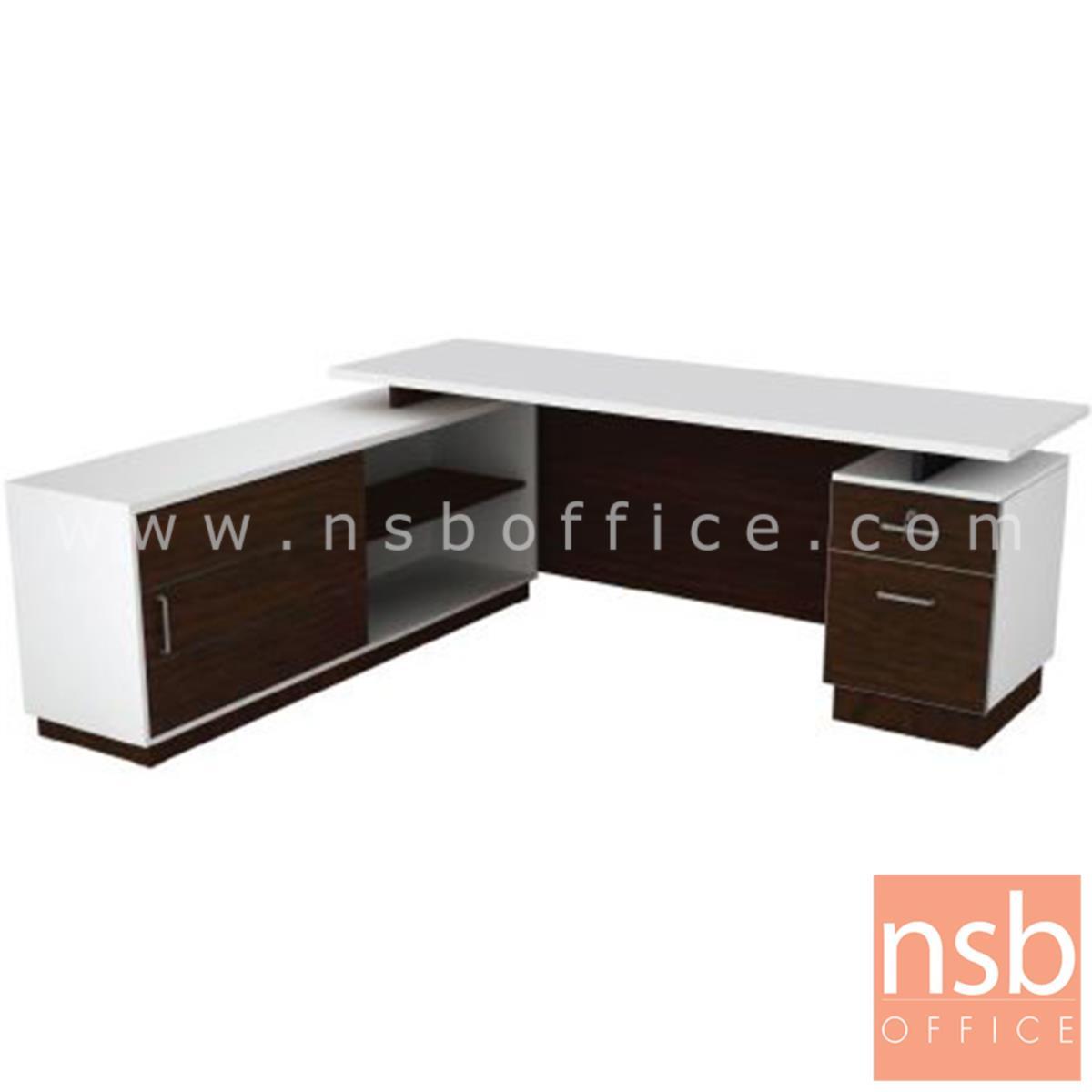 A15A008:โต๊ะทำงานตัวแอล 2 ลิ้นชัก รุ่น Breyer (เบรเยอร์) ขนาด 1801W*180W2 cm. พร้อมตู้ข้าง สีเวงเก้-ขาว