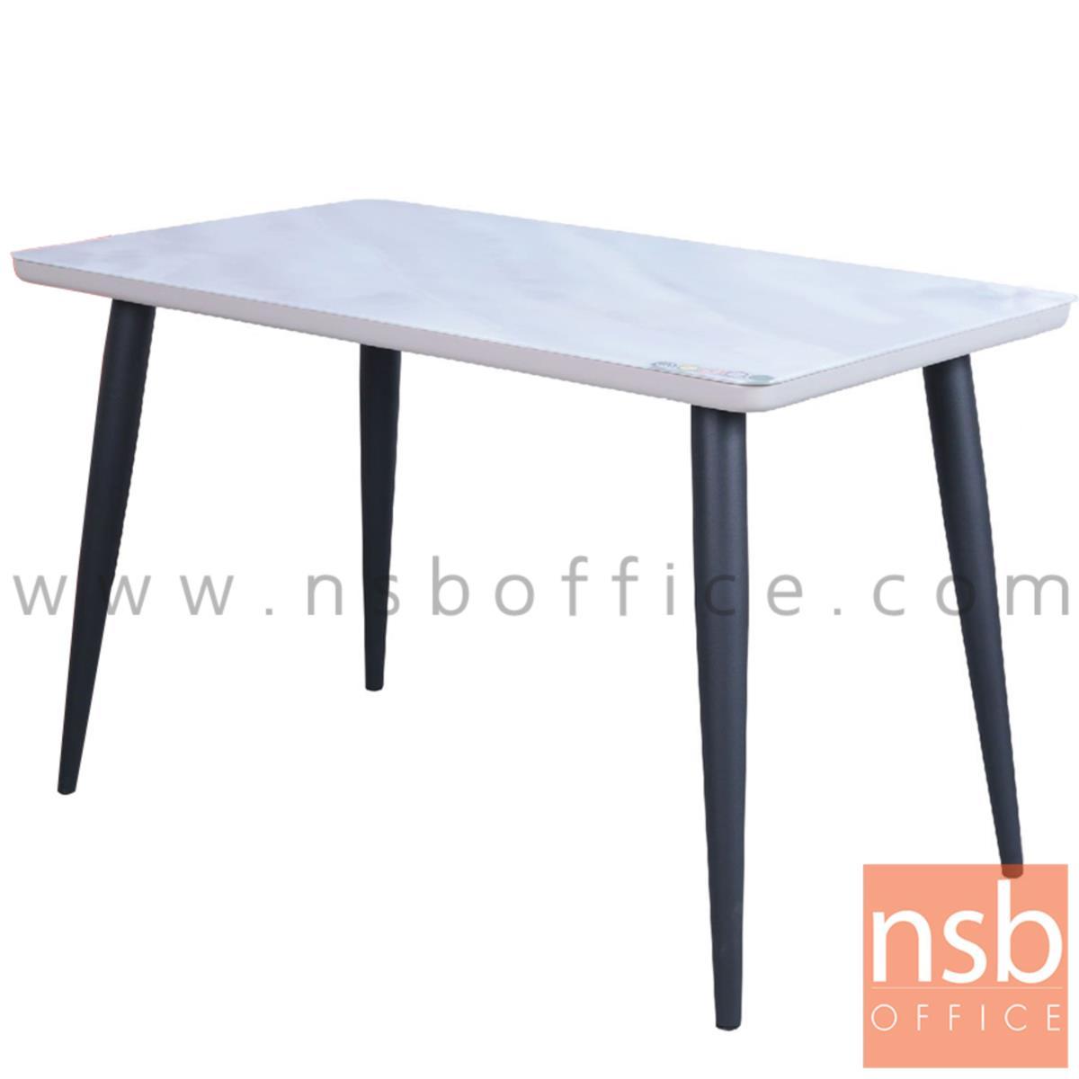 G14A218:โต๊ะรับประทานอาหาร รุ่น Bolza (โบลซา) ขนาด 120W cm. หน้ากระจกลายหินอ่อน ขาเหล็ก
