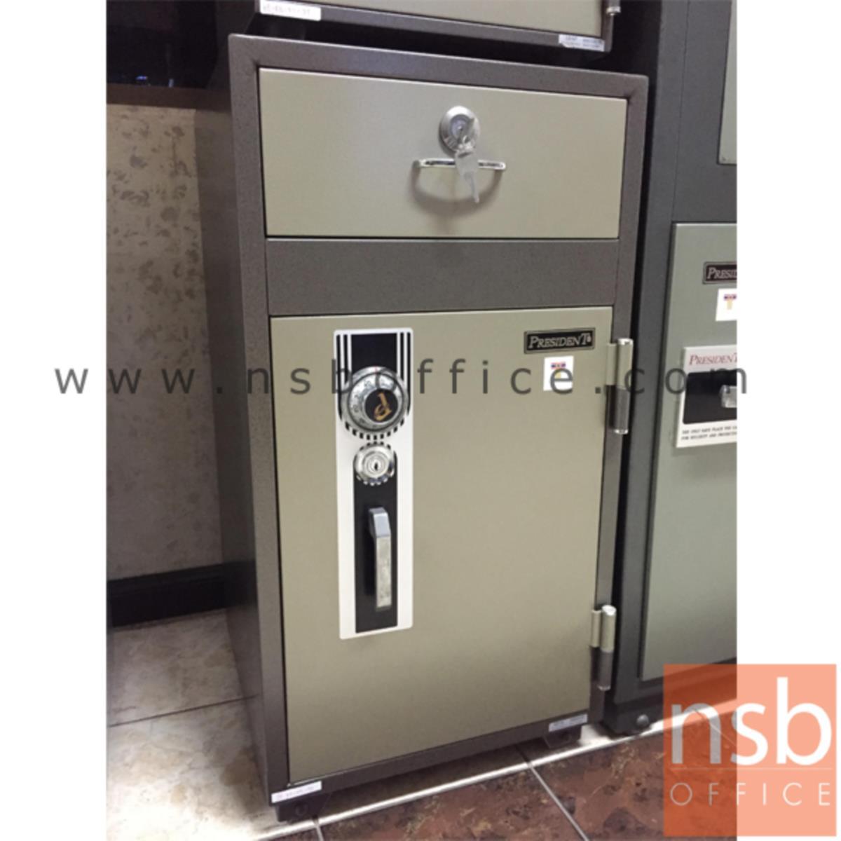 F05A004:ตู้เซฟแคชเชียร์ 130 กก. รุ่น PRESIDENT-ND100  มี 1 กุญแจ 1 รหัส พร้อมลิ้นชักแยก (เปลี่ยนรหัสไม่ได้)