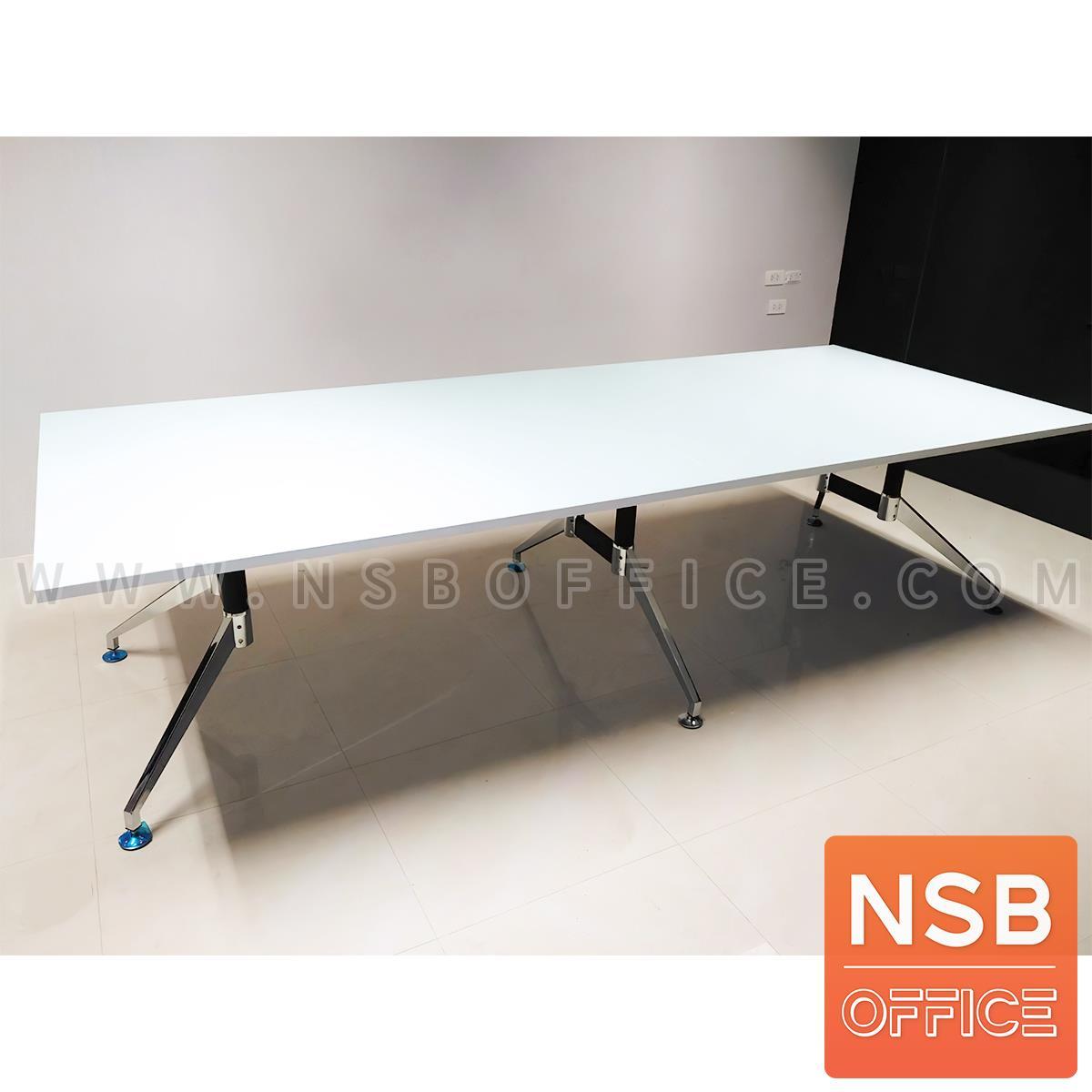 โต๊ะประชุมทรงสี่เหลี่ยม  รุ่น Finch (ฟินช์) ขนาด 360W ,480W cm.  ขาเหล็กปลายแฉกทรงคางหมู
