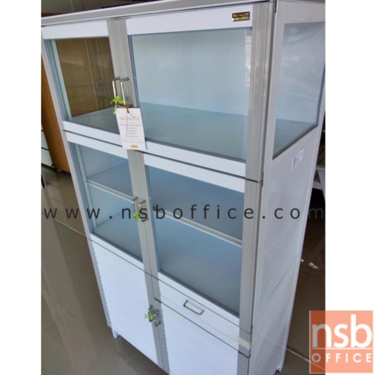 ตู้กับข้าวอลูมิเนียม 1 ลิ้นชัก 4 บานเปิดกระจก 2 บานเกล็ด  ขนาด 90W*47D*170H cm.