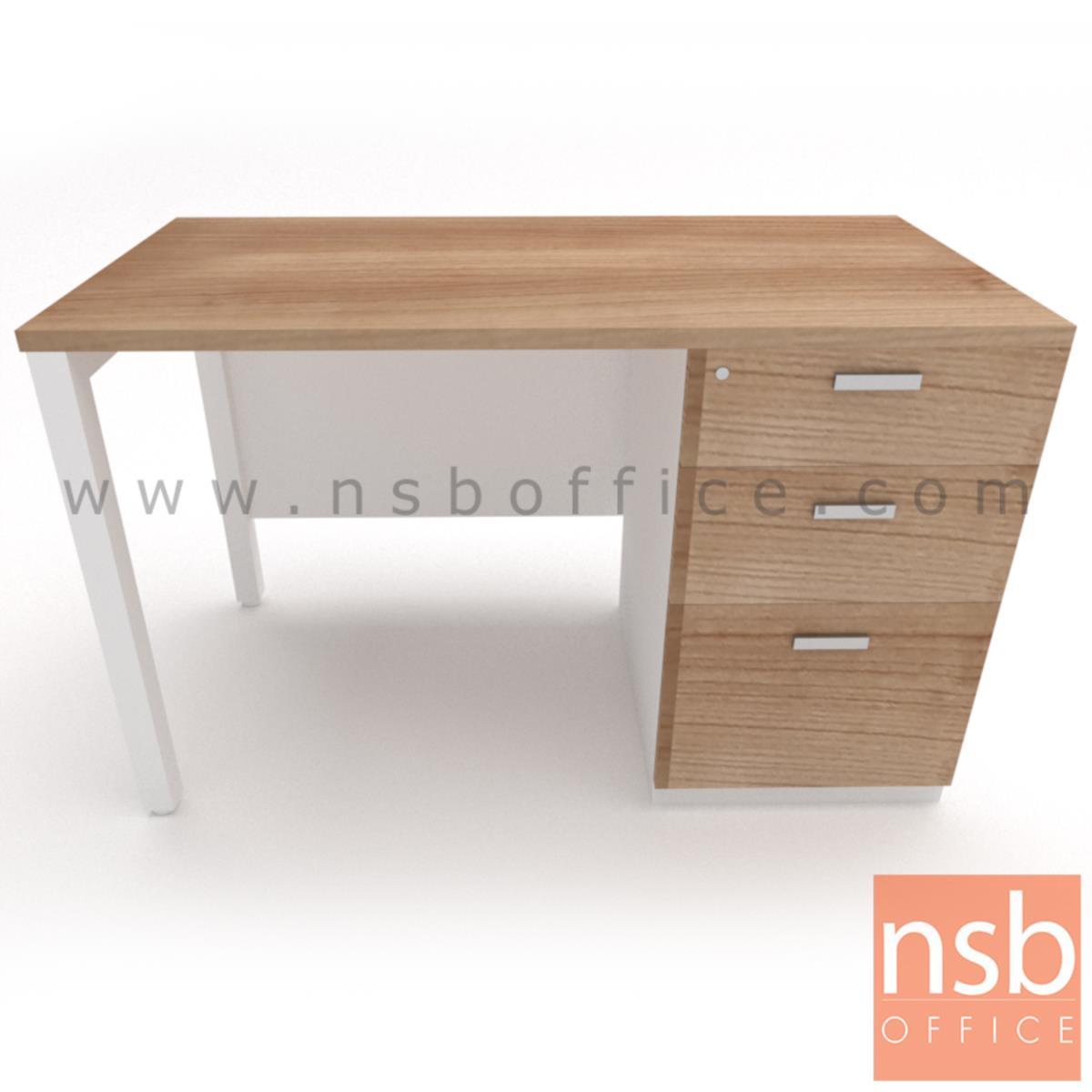 โต๊ะทำงาน 3 ลิ้นชัก บังโป๊ไม้  ขนาด 120W ,135W ,150W ,180W cm.  ขาเหล็กเหลี่ยมทำสี